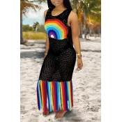 Lovely Patchwork Tassel Black Beach Dress