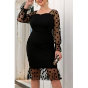 Lovely Chic Patchwork Black Knee Length Plus Size