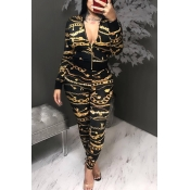 Lovely Casual Print Zipper Design Black Two-piece