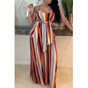 Lovely Bohemian Striped Jacinth Maxi Dress