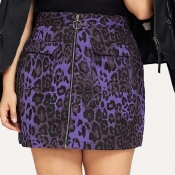 Lovely Casual Print Purple Plus Size Skirt