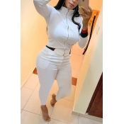 Lovely Casual Zipper Design White Two-piece Pants