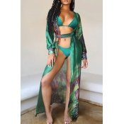 Lovely Print Green Two-piece Swimsuit(With Lining)