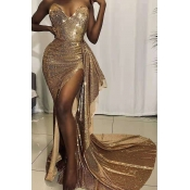 Lovely Trendy Side High Slit Gold Trailing Dress