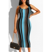 Lovely Sexy Sleeveless Striped Print Blue Mid Calf