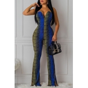 Lovely Sexy Print Blue Jumpsuit
