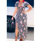 Lovely Trendy Print Grey Ankle Length Dress