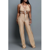 Lovely Trendy Hollow-out Striped Print Yellow Jump