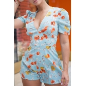 Lovely Trendy Print Baby Blue Romper