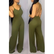 Lovely Sexy Backless Green One-piece Jumpsuit