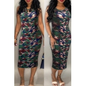 Lovely Casual O Neck Print Green Mid Calf Dress