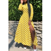 Lovely Casual Dot Print Yellow Ankle Length Dress