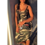 Lovely Sexy Camouflage Print Knee Length Dress
