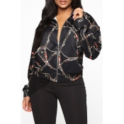 Lovely Trendy Print Black Jacket