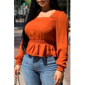 Lovely Casual Square Collar Flounce Design Jacinth