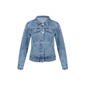 Lovely Chic Buttons Design Blue Plus Size Jacket