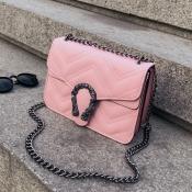 Lovely Trendy Chain Strap Pink Crossbody Bag