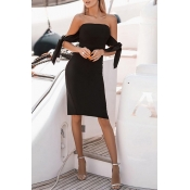 Lovely Casual Lace-up Black Knee Length Dress