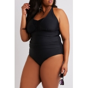 Lovely Sleeveless Black Plus Size One-piece Swimsu