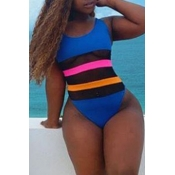 Lovely Patchwork Blue Plus Size One-piece Swimsuit