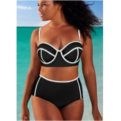 Lovely Patchwork White Plus Size Two-piece Swimsui