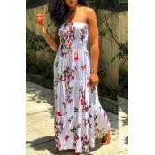 Lovely Ethnic Print Red Floor Length Dress