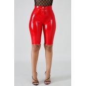 Lovely Stylish Zipper Design Red Shorts