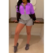 Lovely Trendy Zipper Design Purple Two-piece Short