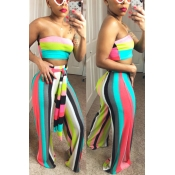 Lovely Trendy Striped Print Multicolor Two-piece P