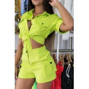 Lovely Trendy Buttons Design Green Two-piece Short