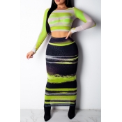 Lovely Casual Print Light Green Two-piece Skirt Se