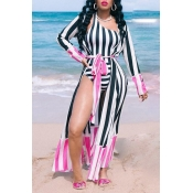Lovely Striped Print Pink One-piece Swimsuit (With