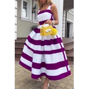 Lovely Casual Striped Print Purple Mid Calf Dress