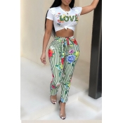 Lovely Casual Floral Print Green Two-piece Pants Set