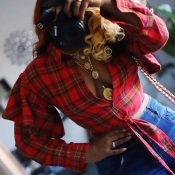 Lovely Chic Plaid Print Red Blouse