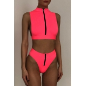 Lovely Zipper Design Pink Two-piece Swimsuit