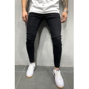 Lovely Casual Basic Skinny Black Jeans