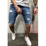 Men Lovely Casual Skinny Baby Blue Shorts