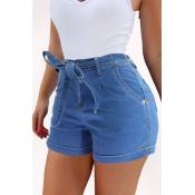 Lovely Chic Skinny Baby Blue Shorts