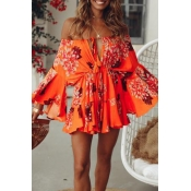 Lovely Sweet Print Loose Orange Mini Dress