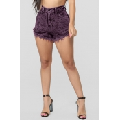 Lovely Casual Tassel Design Purple Shorts