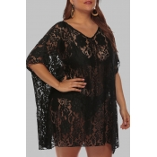 Lovely Chic See-through Black  Plus Size Beach Blo