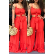 Lovely Chic Crop Top Red Two-piece Pants Set