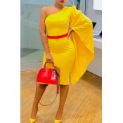 Lovely Sweet One Shoulder Yellow Knee Length Dress