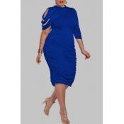 Lovely Trendy Ruffle Design Blue Knee Length Plus