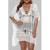 Lovely Chic Hollow-out White Plus Size Beach Dress