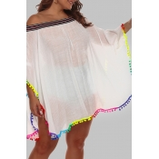 Lovely Chic Loose White Plus Size Beach Blouse Cov