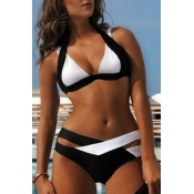 Lovely Patchwork Black And White Two-piece Swimsui