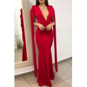 Lovely Party Deep V Neck Skinny Red Prom Dress