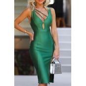 Lovely Party V Neck Skinny Green Knee Length Dress